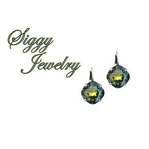 Swarovski® Crystal Tabac Earrings, Cushion Cut